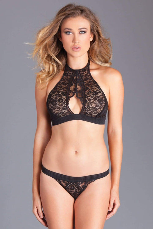 Be Wicked BW1720 Black Halter Lace Bralette Set