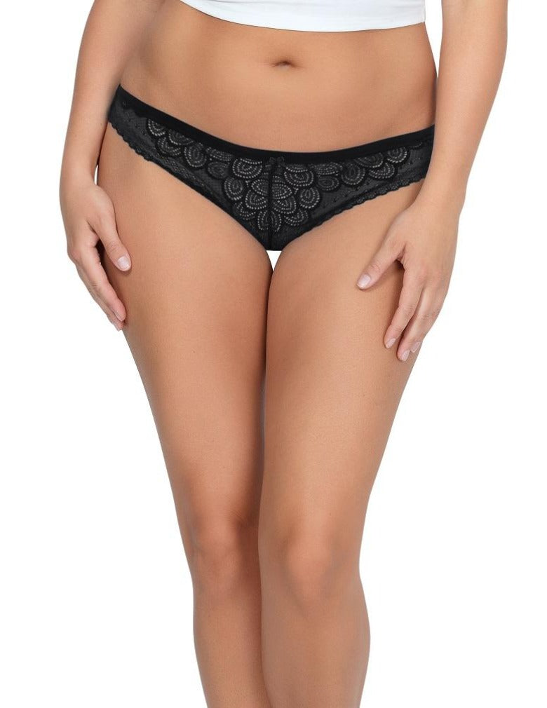 Parfait So Glam Stretch Lace Thong Panty Black PP402