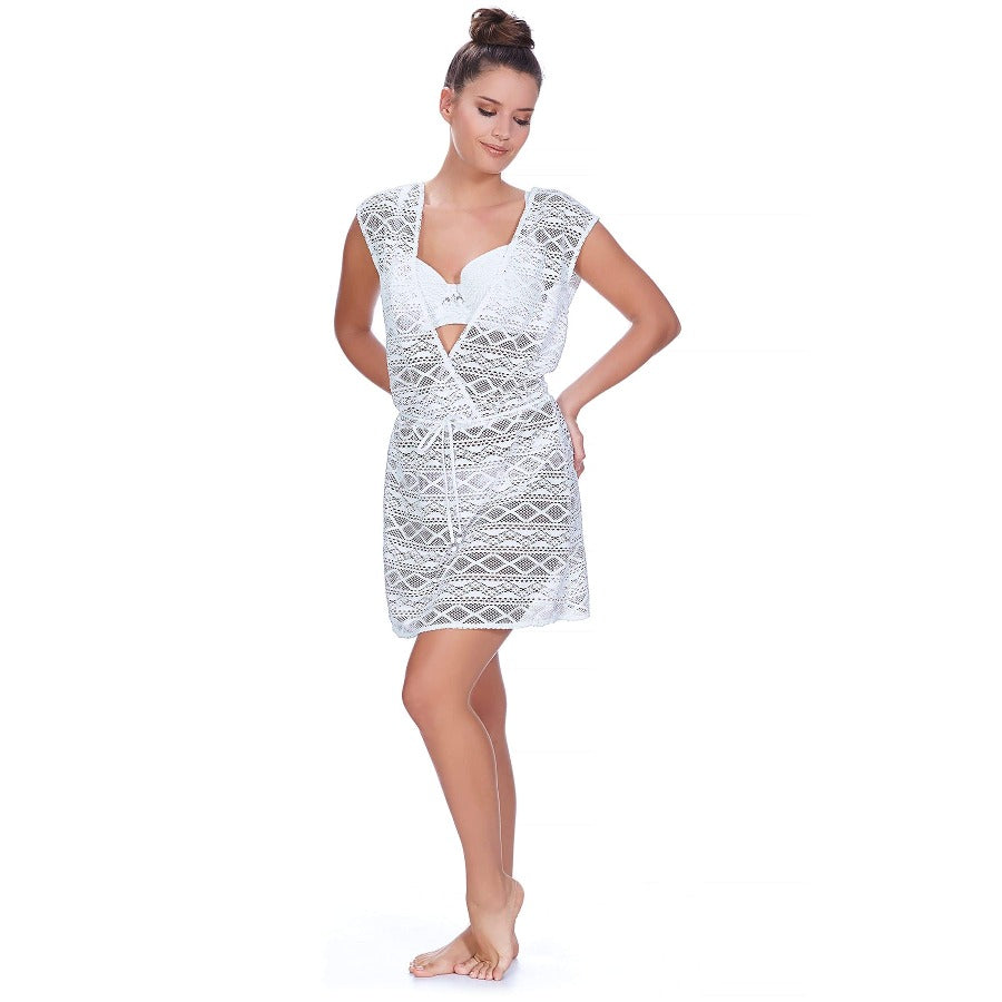 Freya AS3978 Sundance White Cross Over Dress Swim Cover Up