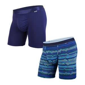 BN3TH CLASSIC BOXER BRIEF 2 PACK -  WARP STRIPE NAVY & NAVY