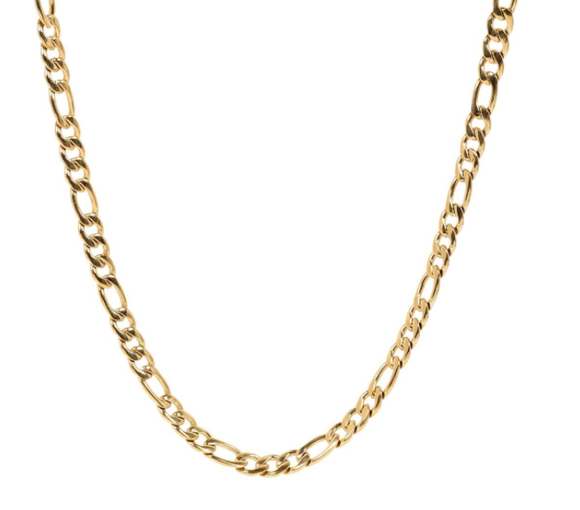 A.R.Z STEEL - GOLD STEEL FIGARO LINK NECKLACE