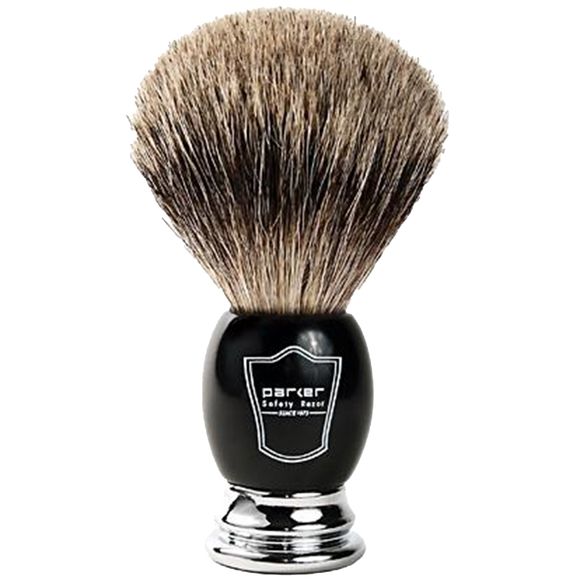PARKER - BLACK & CHROME HANDLE PURE BADGER BRISTLE SHAVE BRUSH