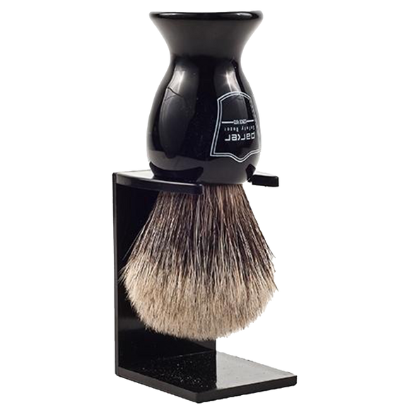 PARKER - LONG BLACK RESIN HANDLE PURE BADGER BRISTLE SHAVE BRUSH