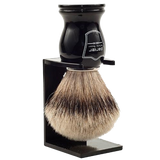 PARKER -  BLACK HANDLE SILVERTIP BRISTLE SHAVE BRUSH