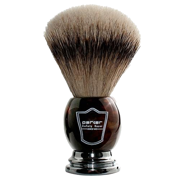 PARKER -  DELUXE FAUX HORN HANDLE SILVERTIP BRISTLE SHAVE BRUSH