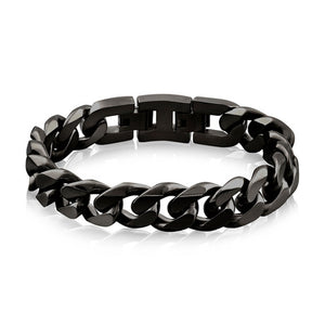 A.R.Z STEEL - 14 MM BLACK CUBAN LINK BRACELET