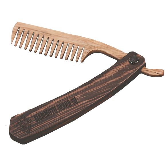 MAMMOTH BEARD CO. - WALNUT FOLDING BEARD COMB