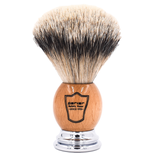 PARKER - DELUXE WOOD & CHROME HANDLE SILVERTIP BRISTLE SHAVE BRUSH