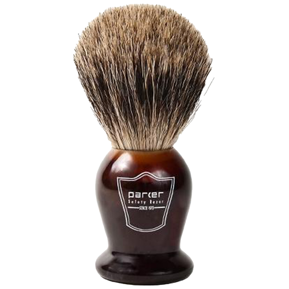 PARKER - TORTOISE HANDLE PURE BADGER BRISTLE SHAVE BRUSH