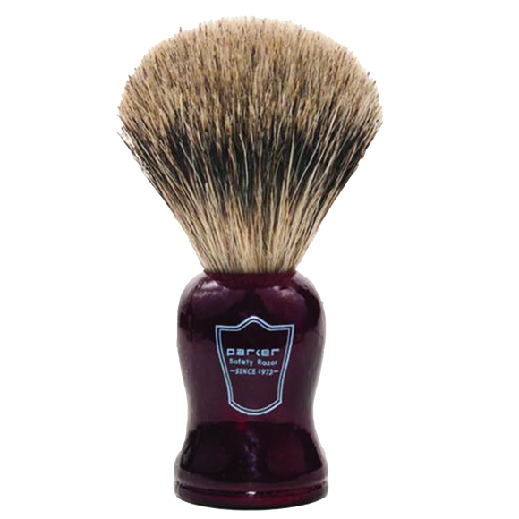 PARKER - ROSEWOOD HANDLE PURE BADGER BRISTLE SHAVE BRUSH