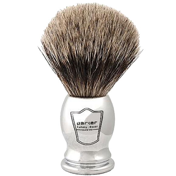 PARKER - CHROME HANDLE PURE BADGER BRISTLE SHAVE BRUSH