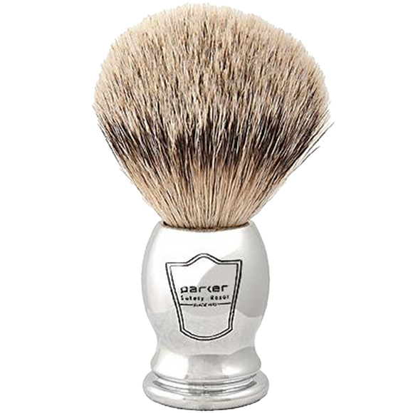 PARKER -  CHROME HANDLE SILVERTIP BRISTLE SHAVE BRUSH