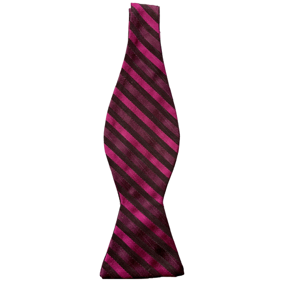 TED BAKER LONDON - PURPLE STRIPED SILK BOW TIE