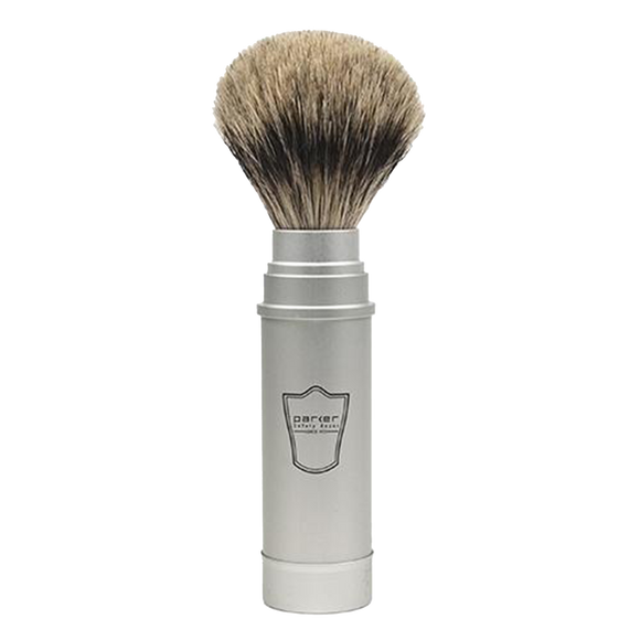 PARKER -  BRUSHED ALUMINIUM HANDLE PURE BADGER BRISTLE TRAVEL BRUSH