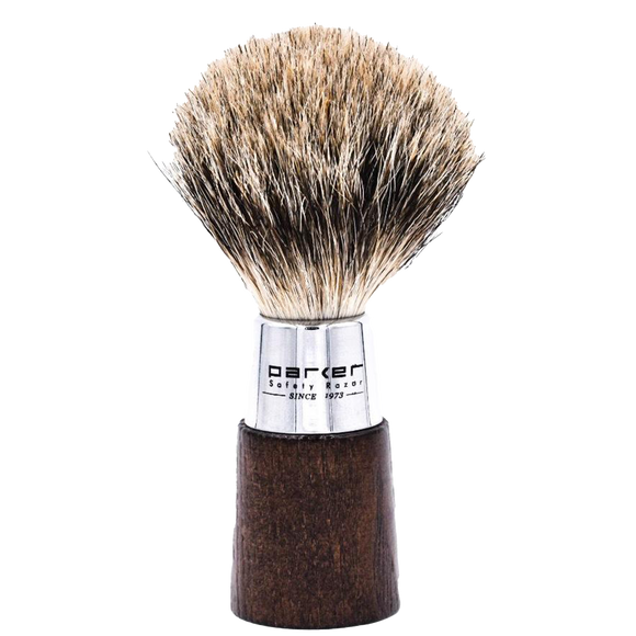 PARKER - WALNUT & CHROME HANDLE PURE BADGER BRISTLE SHAVE BRUSH