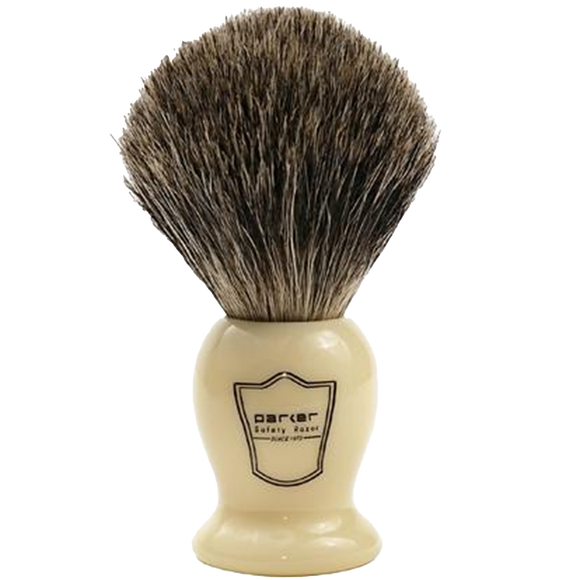 PARKER - IVORY HANDLE PURE BADGER BRISTLE SHAVE BRUSH