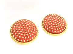 Red gold riveted clip on earrings bold jewelry true vintage goth grunge