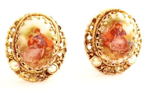 Vintage Jewelry from Germany Cabochon Clip on Earrings Golden Filigree