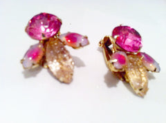 Sabrina Stones SHOCKING PINK Champagne Navette Rhinestones 3D Clip on Earrings G