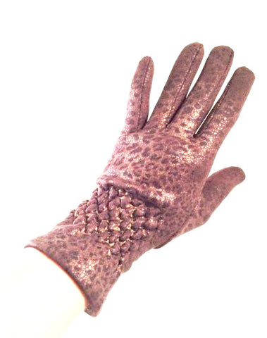 LEOPARD Metallic Brown and Black Winter Luxurious Short Cozy Gloves Glamorous