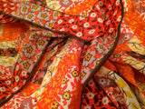 Orange Gold Mini Floral Hand Rolled Scarf Vintage Accessories