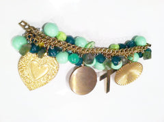 Vintage Assemblage Oversized Charms Cross Locket Chain Bracelet