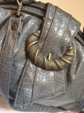 Rivage Vintage Bag Gray Faux Leather Snakeskin Satchel Handbag Shoulder Strap Crossbody