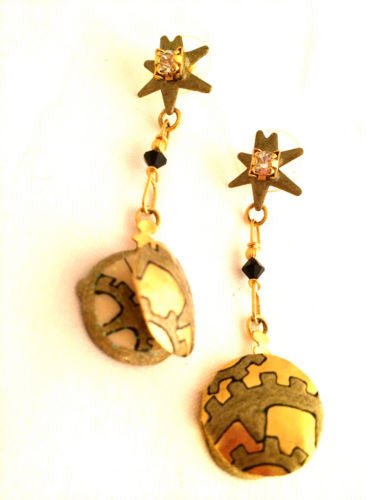 Lunch at the Ritz World Clock Watch Dangle Earrings Whimsical Figural Gold LATR