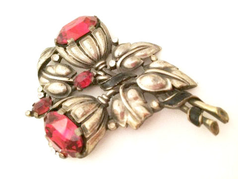 Trifari Fur Pin Ruby Red Brooch Floral Whimsical Vintage Jewelry