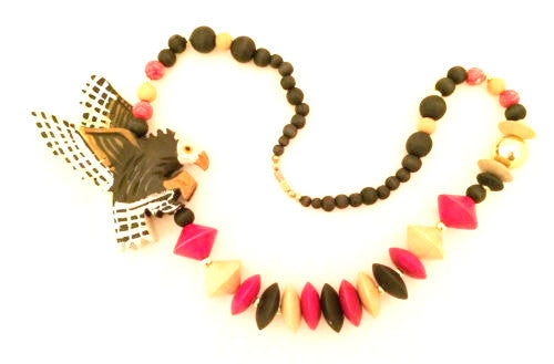 Eagle Beaded Necklace Wooden Carved Americana Ethnic Handmade Vintage Jewelry