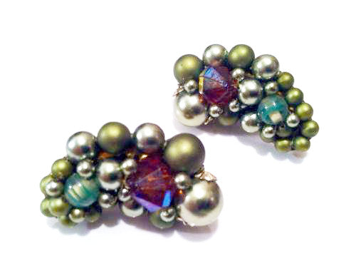 Whimsical Cluster Clip on Earrings Vintage Jewelry made in Japan