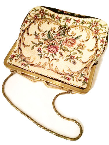 Pointelle Tapestry Purse Western Germany Stunning Floral True Vintage Accessory