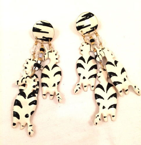Lunch at the Ritz 88 Black White Zebra Couture Whimsical Massive Runway Earrings