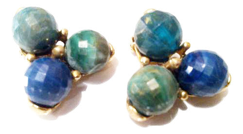 Kramer Vintage Jewelry Green Blue Gold Clip on Earrings