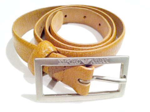 Armani Vintage Belt Camel Leather Accessories Made in Italy