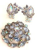 Weiss Blue Crystals Brooch Pin Vintage Jewelry