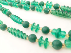 Plastic Vintage Jewelry Flapper Long Green Necklace