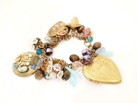 Vintage Assemblage Oversized Charms Heart Locket Chain Bracelet