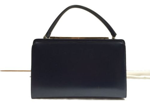 Theodor of California 60s Navy Blue Bag Faux Leather Framed Retro Vintage Handba