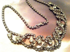 Crystal Diamond Glamour Necklace Fantastic Dimensional Design Vintage Jewelry
