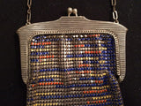 Whiting and Davis Bag Art Deco Scalloped Enameled Metal Mesh Purse