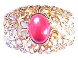 Western Germany Vintage Jewelry Red Golden Filigree Brooch Pin