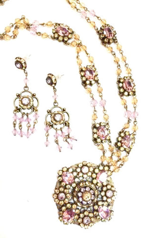 Liz Palacios San Francisco Jewelry Set Necklace Earrings Swarovski Crystal