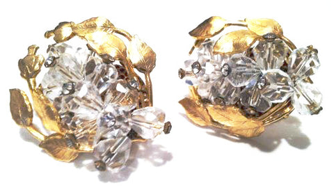 Whimsical Vintage Jewelry Garish Crystals Clip on Earrings