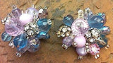 Bold Vintage Jewelry clip on earrings purple pink lilac blue