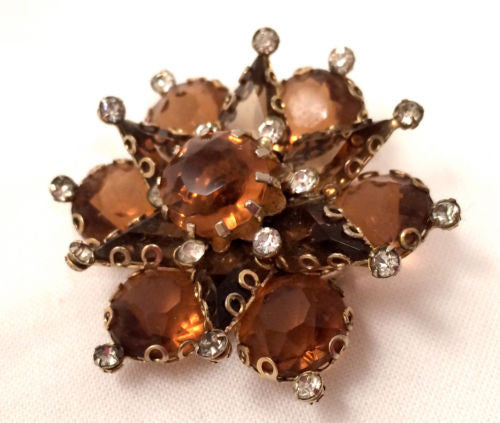 STARBUST Translucent amber colored rhinestones Intricate Nice Brooch Dimensional