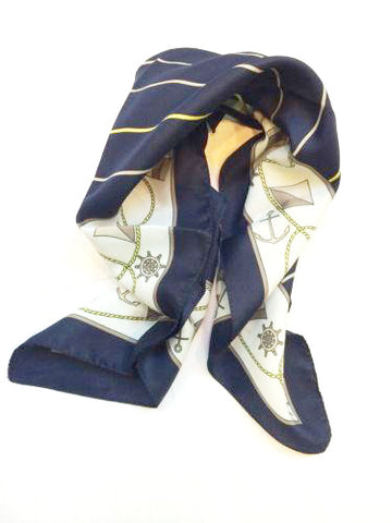 Nautical Vibes Scarf Whimsical Anchor Boat Resort Golden Stripe Navy Yellow White Vintage Accessory