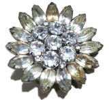 Weiss Diamond Floral Pin Brooch Vintage Jewelry