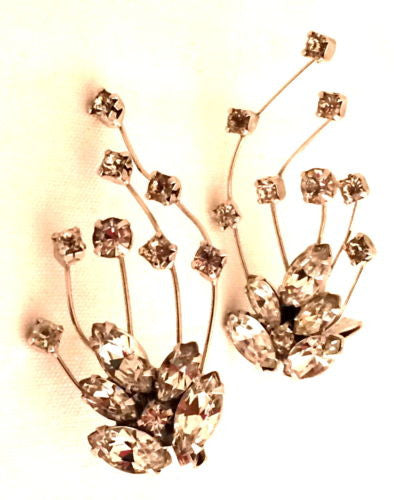 WIESNER vintage designer crystal diamonds clip earrings fabulous vintage jewelry