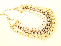 Golden Silver Brushed Link Chain Bib necklace bold statement vintage jewelry